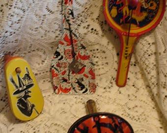 4 Unusual Vintage Halloween Noisemakers (Antique Halloween noise maker) Tin Toys