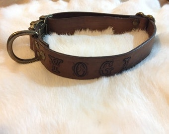 Personalized Brown Leather Quick Release Dog Collar With Name