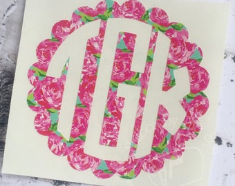 Lilly Pulitzer Inspired Scallop Monogram | Yeti Decal |  Lilly Car Decal | Monogram Decal | Lilly Decal | Rtic Decal | Car Decal | Preppy