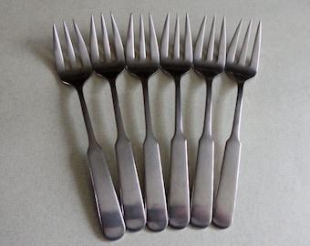 Lauffer Heritage Germany Vintage Stainless Flatware 6 Salad Forks fiddle handle