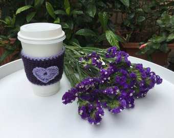 crochet cup cozy, heart cup cozy,Valentines gift, coffee cup cozy, Birthday gift, tea cup cozy, coffee cup sleeve