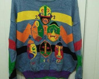 Rare Vintage Jean Charles De Castelbajac Sport Native American Tribes | Bohomian | Aztec Tribal Knitwear