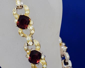 "Joseph Wiesner N.Y. Bracelet 7 1/2"" vintage rhinestones and Lavender stones circa 1950's, signed two places"