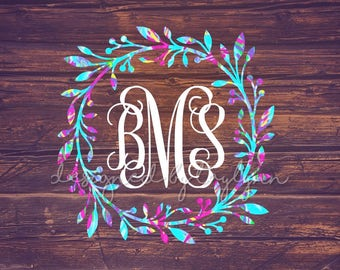 Lilly Pulitzer inspired Wreath Monogram Decal, Laurel Wreath Decal, Laurel Decal, Monogram Decal, Car Decal, Yeti Decal, Decal, Monogram