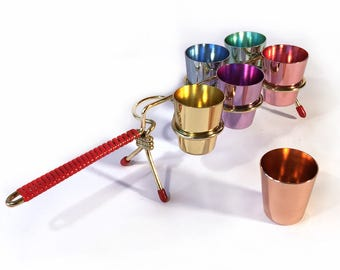 Stylish liquor mug from the ' 50s, colored anodized metal