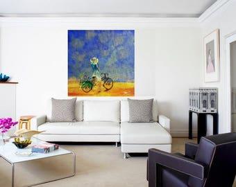 Clearance, Acrylic Painting, Girl on a Bike