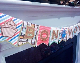 "Going Away Banner Bon Voyage Going Away Party Banner 6'0"" Travel Cruise Ship Banner Deluxe Glitter Banner"