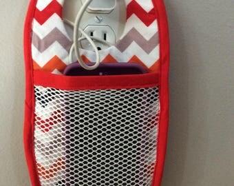 Cell phone caddy, fabric cell phone caddy, phone charging  caddy