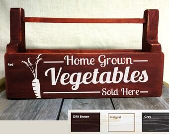 Home Grown Vegetables, Garden Tools Carrier, Box, Gardening, Screen Printed, Heirlooms, Vegetables, Garden, Gardening