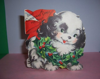 Vintage  Children's  Christmas Card, Dime Card,  Adorable Dog and Wreath, 1950's, Hallmark