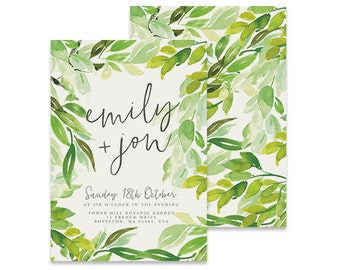 Leaves Wedding Invitation | Luca | Printable DIY Invite, Affordable Wedding Invitation | Fresh green leaves, country invite, leafy
