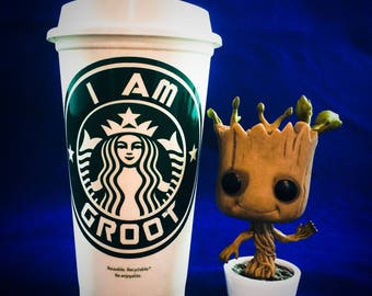 "Guardians of the Galaxy inspired ""I Am Groot"" Starbucks Travel Cup"