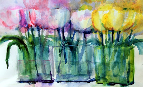 Pastel Tulips - signed print - Bonnie White - watercolor - floral - flowers - garden print - watercolor flowers