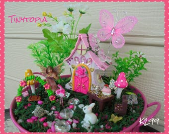 Pink Crystal Fairy House Set Miniature Fairy Garden Kit Includes Plants