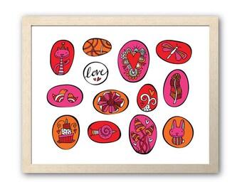 Love Pebble Artwork | Instant Digital Print Download | Full Colour Original Doodle Design