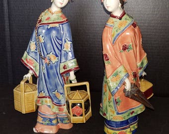Oriental Chinese Asian Delicate Ceramic/Porcelain Pair  Geisha Girls/Lady Figurines