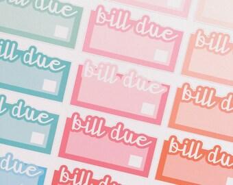 BILL DUE LABEL Stickers Rainbow