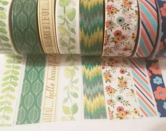 Floral washi samples, nature washi tape, 24 inch washi tape samples, leaves and fern washi, watercolor washi, washi samples, tape