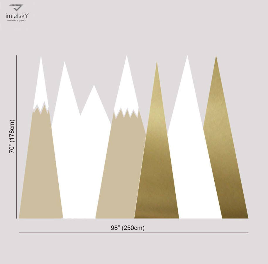 Gold nursery mountain wall art covering headboard wall decal for gold nursery mountain wall art covering headboard wall decal for kids baby room playroom washable self amipublicfo Choice Image