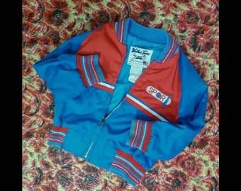 Vintage 80s Toddler 3T Weather Tamer Red n Blue American Made Zip Up Light Jacket Windbreaker Sports