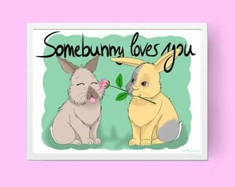 printable bunny wall art, digital download, bunny drawing, bunny print, Illustration, bunny painting, rabbit art, babyroom, nursery decor