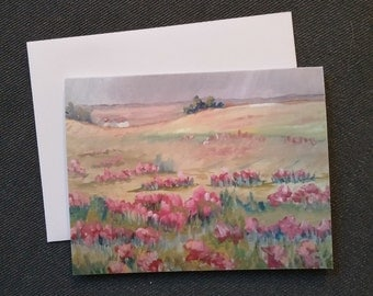 landscape greeting cards, thank you note cards, cards with flowers, by RKMJCreations