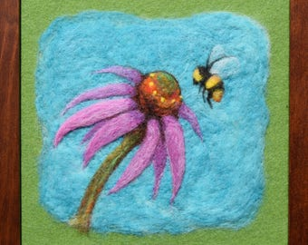 Needle Felting -- Coneflower and Bumble -- Floral wool painting