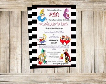 Alice in wonderland invitation, tea party invitation, one-derland invitstions, mad hatter invitations, digital invite
