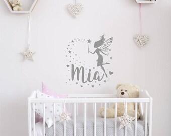 Vinyl Sticker, Personalised Fairy and Stars, Nursery, Kids bedroom Wall Art