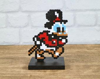 Scrooge McDuck Pixel Art Figure, Perler Beads, 8 Bit, Gamer Gift