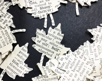 200 maple leaves die cut from Vintage Dictionary from the 1930's , confetti , wedding , card making