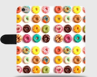 Doughnuts Sweets Candy Food Faux Leather Phone Cover with Magnetic Clasp for iPhone and Samsung Galaxy LM046