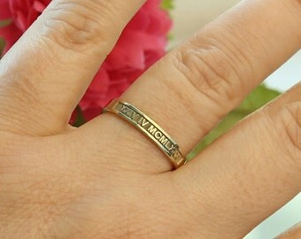 Gold Roman Numeral Ring-Customized Wedding Band-Personalized Date Ring-Personalized Jewelry-Bridesmaid Gift-Mother Jewelry