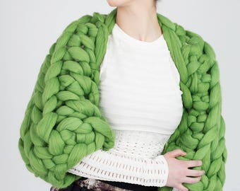 Chunky Knit Shrug, Arm knit Shrug, Merino wool shrug, Giant Knit shrug, Knitted shrug
