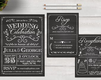 Chalkboard Wedding invitation Template. Printable Wedding Invitation Set. Modern Wedding Invitation. PSD invitation. Black Wedding Invite