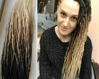 Ready made set of double ended synthetic dreads. Crochet dreads. Natural looking dreads. Colour transitions dreads.