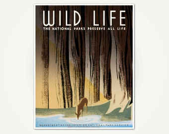 Wild Life WPA Poster Print - National Parks Poster Art