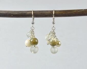 Glass Bead Cluster Dangle Earrings