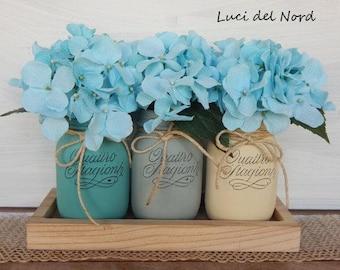 "Set painted vases ""sand and sea"""