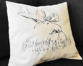 """Moose Pillow Cover, Decorative Pillow Cover 16"""" x16"""""""