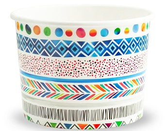 12 oz Tribal Funk Paper Ice Cream Cups - Premium High Quality Paper Cups - Beautiful Design - Very Fast Shipping! Frozen Dessert Supplies