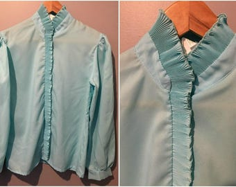 Vintage 1970s Baby Blue Ruffle Blouse Size 7