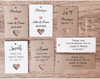 Personalised thank you's, gift tags, favor tags great for wedding, bridal shower gifts or baby shower gifts.