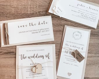 Personalised Gold print Wedding, Save the Date & Engagement Invitations with Metallic Envelopes