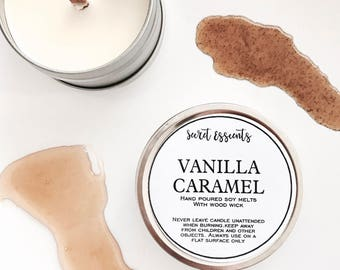 Vanilla Caramel Natural Soy Wax Tin Candle with Wooden Wick