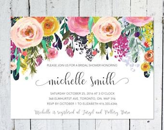Bridal Shower Invitation, Colorful, Floral, Watercolor, Horizontal, Printable, Printed, Bridal Shower Invite, Spring