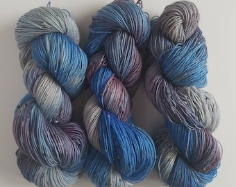 BLUEBERRY- Hand Painted Tweed Sock Yarn- Hand Dyed Superwash Merino NEP- 438 yards
