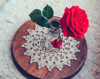 100% Cotton Hand Crocheted Doily. 21cm / 8 in. Beige