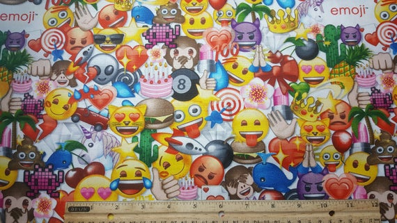 Items similar to emoji fabric by the yard or fat quarter for Emoji material by the yard