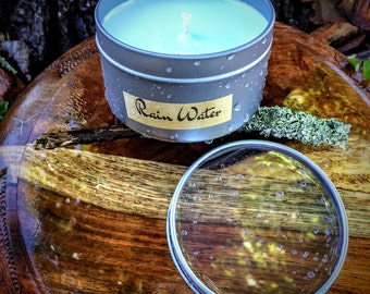 Rain Water Scented Premium Natural Soy Wax Container Candle In Medium Clear Lid Metal Travel Tin - 6oz - 100g